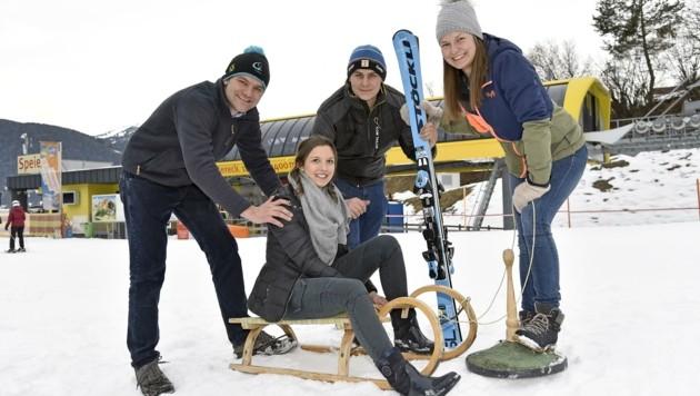 Landjugend bereitet sich auf Winterspiele nächste Woche im Lungau vor: Markus, Laura, Laurenz, Sonja (Bild: Holitzky Roland)