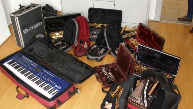 Diese Instrumente wurden in der Musikschule gestohlen. (Bild: LPD Steiermark)