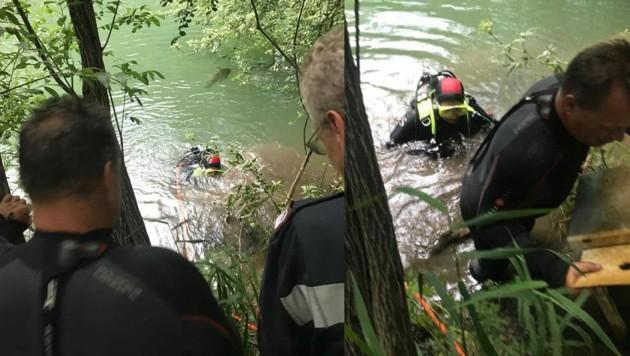 Taucher der Feuerwehr Kapfenberg holten Diebesgut aus der Mürz. (Bild: Stadtfeuerwehr Kapfenberg)