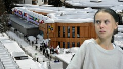 """Greta Thunberg hat bereits vor dem Gipfel in Davos eine Forderung an die """"Führer der Welt"""" gerichtet: Sie sollen nicht mehr in fossile Energien investieren. (Bild: APA/AFP/Miguel MEDINA, AP, krone.at-Grafik)"""