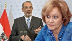 Die Situation zwischen Bildungsminister Heinz Faßmann und seiner ehemaligen Ombudsfrau Susanne Wiesinger eskaliert. (Bild: APA/HERBERT NEUBAUER, Peter Tomschi, krone.at-Grafik)