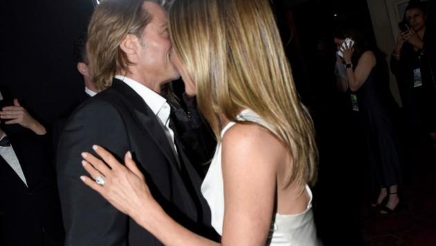 Jennifer Aniston und Brad Pitt zeigten sich vertraut wie schon lange nicht. (Bild: 2020 Getty Images)