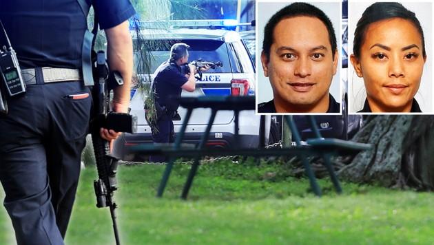 Die beiden Polizeibeamten Kaulike Kalama und Tiffany Enriquez wurden bei einem Einsatz von einem Mann erschossen. (Bild: AP, krone.at-Grafik)