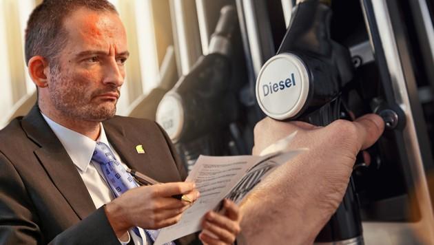 """Für Grünen-Verkehrssprecher Hermann Weratschnig wäre die Abschaffung des Dieselprivilegs """"ein klares Bekenntnis"""" zum Klimaschutz. (Bild: Christof Birbaumer, stock.adobe.com, krone.at-Grafik)"""