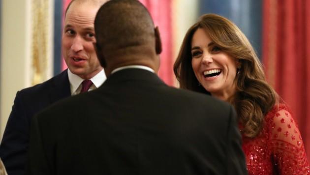 Prinz William und Herzogin Kate zeigten sich an diesem Abend gut gelaunt. (Bild: AFP)