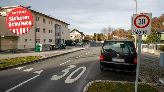Bisher rasten die Autos durch die Alexander-Girardi-Straße in Parsch - jetzt wird kontrolliert (Bild: Markus Tschepp)