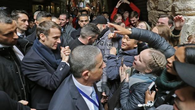 Beim Israel-Besuch des französischen Präsidenten Emmanuel Macron kam es zu einem Zwischenfall. (Bild: AFP)