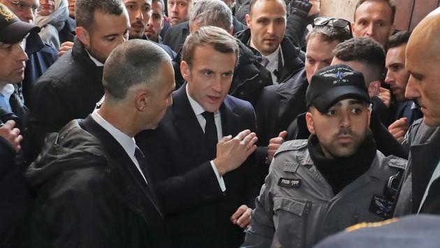 Macron in Jerusalem (Bild: AFP)