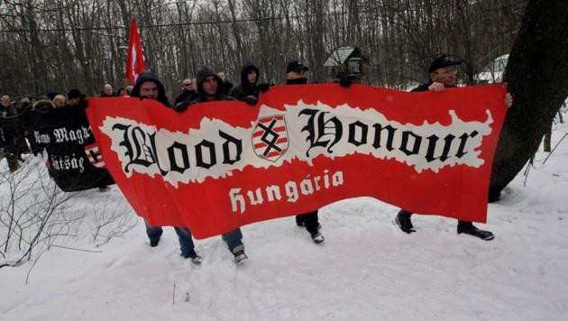 """""""Blood and Honour""""- Mitglieder aus Ungarn (Bild: AFP)"""