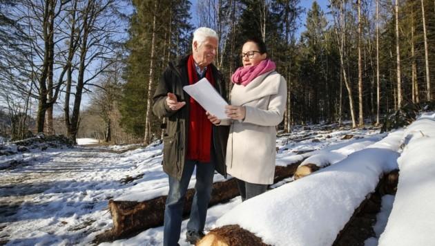 380-kV-Gegner Theodor Seebacher unterrichtet Nationalratsabgeordnete Cornelia Ecker über den aktuellen Stand. (Bild: Tschepp Markus)