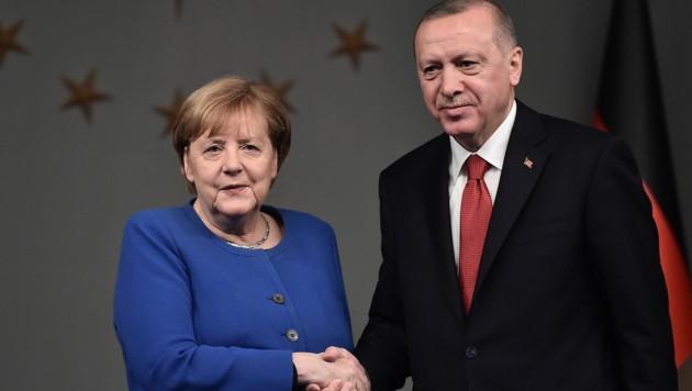 Die deutsche Kanzlerin Angela Merkel und der türkische Präsidenten Recep Tayyip Erdogan (Bild: AFP)
