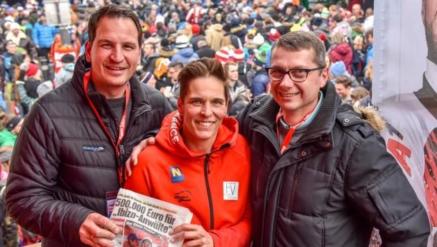 Harald Jedlicka (links), Gerhard Eillenberger und Ex-ÖSV-Skiprofi Michaela Dorfmeister. (Bild: Wenzel Markus)
