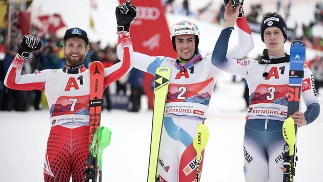 Marco Schwarz (li.), Daniel Yule und Clement Noel (re.) (Bild: APA/GEORG HOCHMUTH)