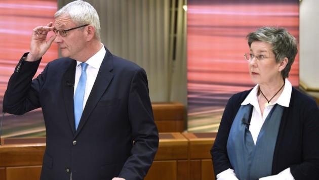 Die Spitzenkandidaten Thomas Steiner (ÖVP) und Regina Petrik (Grüne) (Bild: APA/ROBERT JÄGER)