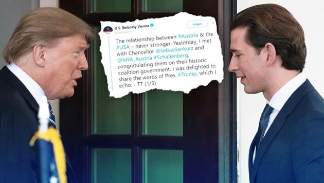 (Bild: AFP/JIM WATSON, twitter.com, krone.at-Grafik)