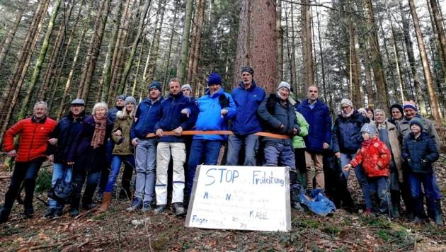 Seit dem 13. Jänner blockieren die Freileitungsgegner die Arbeiten in einem Wald im Salzburger Bad Vigaun. (Bild: Markus Tschepp)