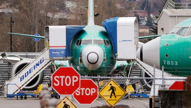 Eine geparkte Boeing 737 Max (Bild: AP)