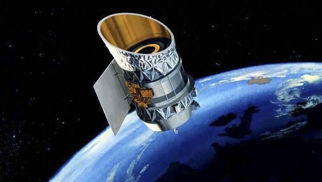 Künstlerische Darstellung: Der 1967 gestartete NASA-Satellit IRAS im Orbit um die Erde (Bild: NASA)
