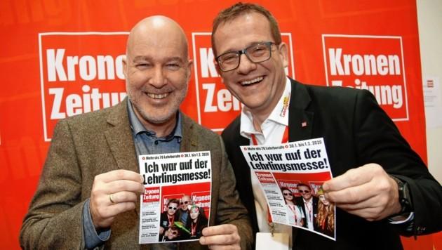 Mit Freude und Motivation dabei: Messe-Geschäftsführer Erler (li.), Mediaprint-Chef König. (Bild: Rojsek-Wiedergut Uta)