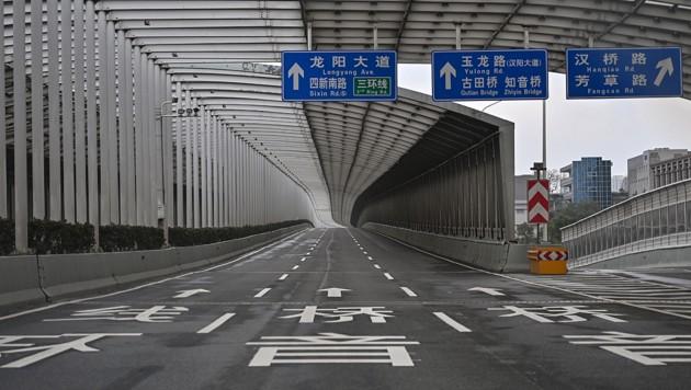 Leere Straßen in Wuhan (Bild: AFP)