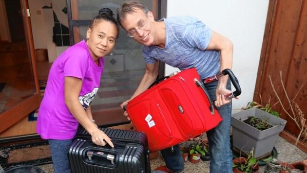 Rolf Majcen und Gattin Jin Lon kamen am Donnerstag aus China zurück. (Bild: Judt Reinhard)