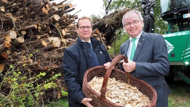 Geheizt wird mit Schadholz aus dem Waldviertel – EVN-Chef Stefan Szyszkowitz und Landesvize Stephan Pernkopf. (Bild: EVN/Gabriele Moser)