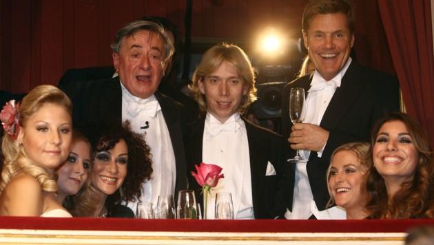 Richard Lugner (li.) und Helmut Werner (M.): Einst der Mann für Lugners Härtefälle am Opernball (Bild: APA/GEORG HOCHMUTH)
