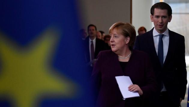 Die deutsche Bundeskanzlerin Angela Merkel und der österreichische Bundeskanzler Sebastian Kurz (Bild: AFP)