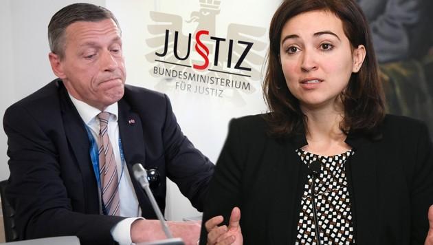 Der mittlerweile suspendierte Justiz-Sektionschef Christian Pilnacek; Justizministerin Alma Zadić (Bild: APA/GEORG HOCHMUTH, APA/HELMUT FOHRINGER, Andi Schiel, krone.at-Grafik)