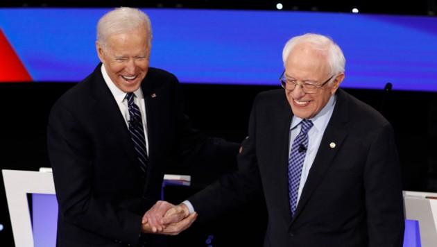 Der ehemalige Vizepräsident Joe Biden und der langjährige Senator aus Vermont, Bernie Sanders, gelten als Favoriten für die demokratische Nominierung als Herausforderer von Donald Trump. (Bild: AP)