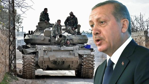 Die syrischen Truppen kommen dem Herrschaftsbereich des türkischen Präsidenten Recep Tayyip Erdogan in Syrien nun gefährlich nahe. (Bild: APA/AFP/SANA, AP, krone.at-Grafik)