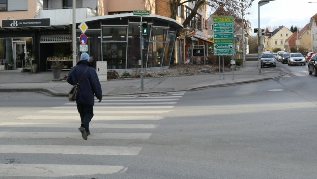 Der Tatort in der St.-Peter-Hauptstraße in Graz (Bild: Christian Jauschowetz)