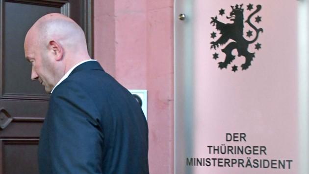 Thomas Kemmerich nach einer Krisensitzung mit FDP-Chef Christian Lindner (Bild: APA)