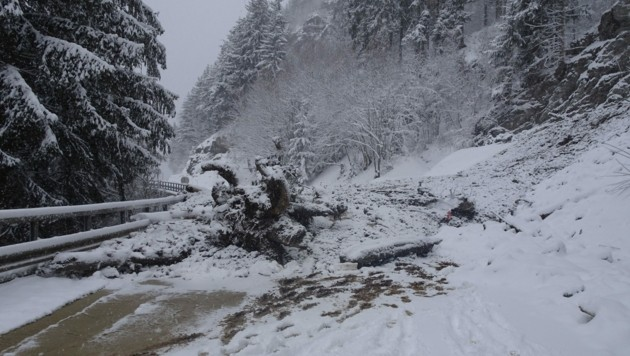 Die Tiroler Straße bleibt nach einem Erdrutsch zwischen Pians und Strengen längere Zeit gesperrt. (Bild: Land Tirol)