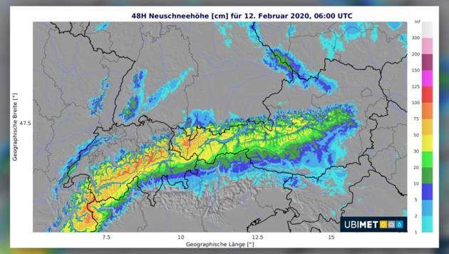 Die erwartete Neuschneehöhe bis Mittwochfrüh (Bild: Ubimet, krone.at-Grafik)