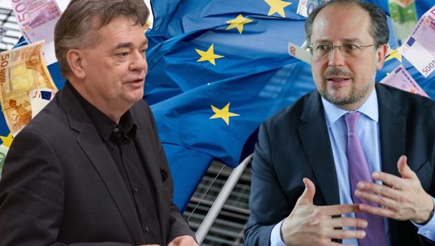 """EU-Budget: Vizeklanzler Werner Kogler (Grüne) sieht die Veto-Drohung des Kanzlers """"wahrscheinlich populistisch"""". Außenminister Alexander Schallenberg (ÖVP) weist das zurück. (Bild: APA/BKA/ANDY WENZEL, AFP, stock.adobe.com, krone.at-Grafik)"""
