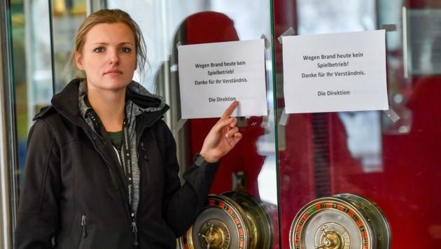 Paulina Gajida, die Vize-Direktorin des Linzer Casinos, am Tag nach dem Brand. (Bild: Dostal Harald)