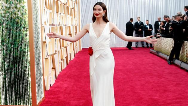 Lily Aldridge sah in ihrer weißen Robe von Ralph Lauren bezaubernd aus. (Bild: AP)