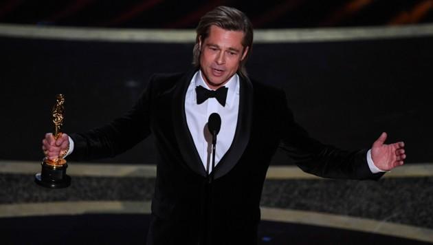 Brad Pitt dankte in seiner Rede seinen Kindern. (Bild: AFP)