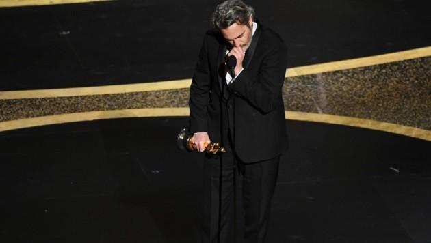 Joaquin Phoenix war bei seiner Rede den Tränen nahe. (Bild: 2020 Getty Images)