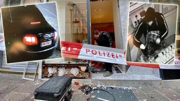 Die drei Täter brachen die Eingangstüre des Uhrengeschäfts auf. (Bild: Markus Tschepp/Polizei Salzburg)