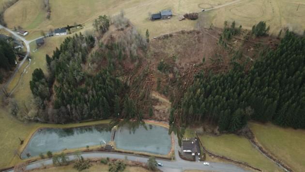 Wie Mikadostäbe wurden die Bäume im oberösterreichischen Sarleinsbrach umgeworfen. (Bild: Leserreporter)