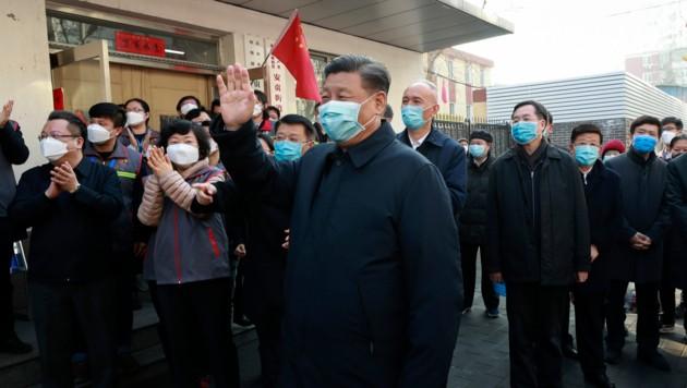 Chinas Präsident Xi Jinping, besuchte ein Präventionscenter in der Nähe von Peking. (Bild: Xinhua)