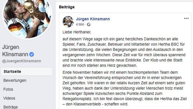 (Bild: Facebook.com/JürgenKlinsmann)