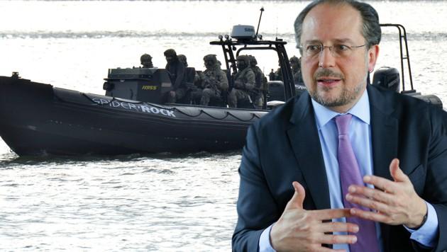 """Anfang 2019 wurde die EU-Marine-Mission """"Sophia"""" im Mittelmeer eingestellt, Österreich blockiert derzeit eine Wiederaufnahme. (Bild: APA/BKA/ANDY WENZEL, APA/HERBERT PFARRHOFER, krone.at-Grafik)"""