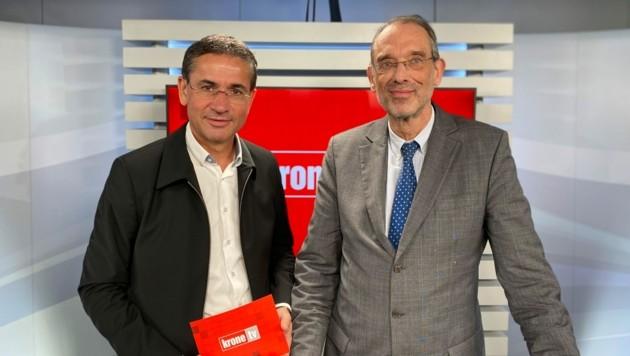 Gerhard Koller im Talk mit Bildungsminister Heinz Faßmann (Bild: krone.tv)