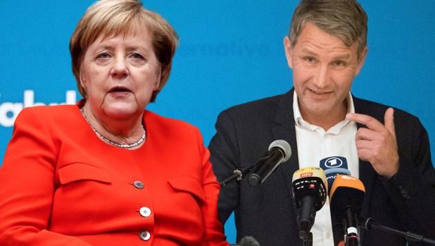 Der Thüringer AfD-Fraktionschef Björn stellt Strafanzeige gegen Kanzlerin Angela Merkel (CDU). (Bild: AP, AFP, krone.at-Grafik)