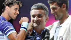 Dominic Thiem, Srdjan Djokovic und Novak Djokovic (von li. nach re.) (Bild: GEPA, APA/AFP/DAVID GRAY)