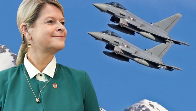 Werden keine Freunde mehr: Klaudia Tanner und die von Airbus gefertigten Eurofighter (Bild: APA/BUNDESHEER/HÖRL, APA/ROLAND SCHLAGER, krone.at-Grafik)