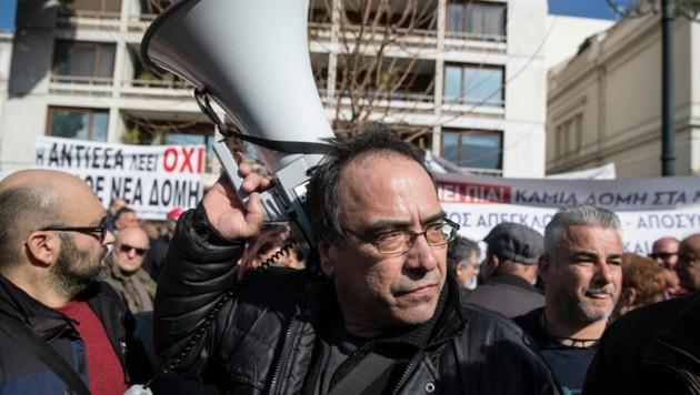 """Proteste in Griechenlands Hauptstadt Athen: """"Die Inseln dürfen nicht mehr Lager verlorener Seelen sein"""", hieß es auf Transparenten. (Bild: AP)"""